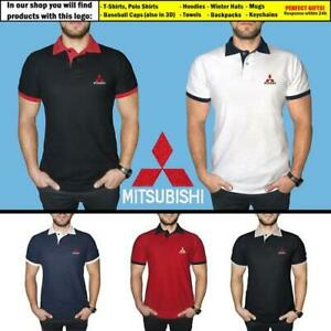 Mitsubishi-Polo-T-Shirt-COTTON-EMBROIDERED-Auto-Car-Logo-Tee-Mens-Clothing-Gift