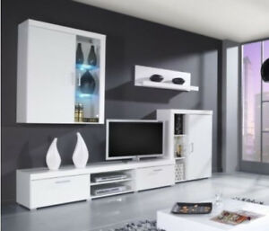 Image Is Loading High Gloss Tv Cabinet Wall Unit