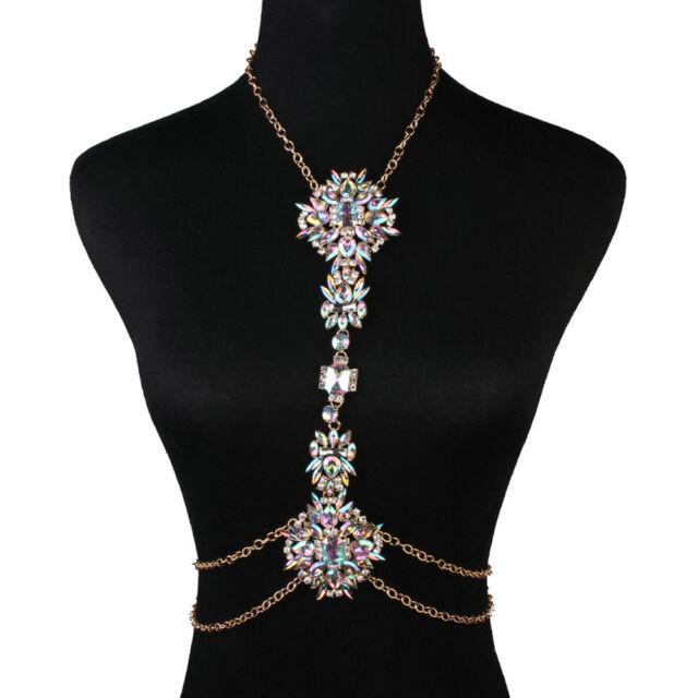 d705da725dbcb Crystal Luxury Rhinestone Gem Pendant Harness Necklace Bikini Jewelry Body  Chain