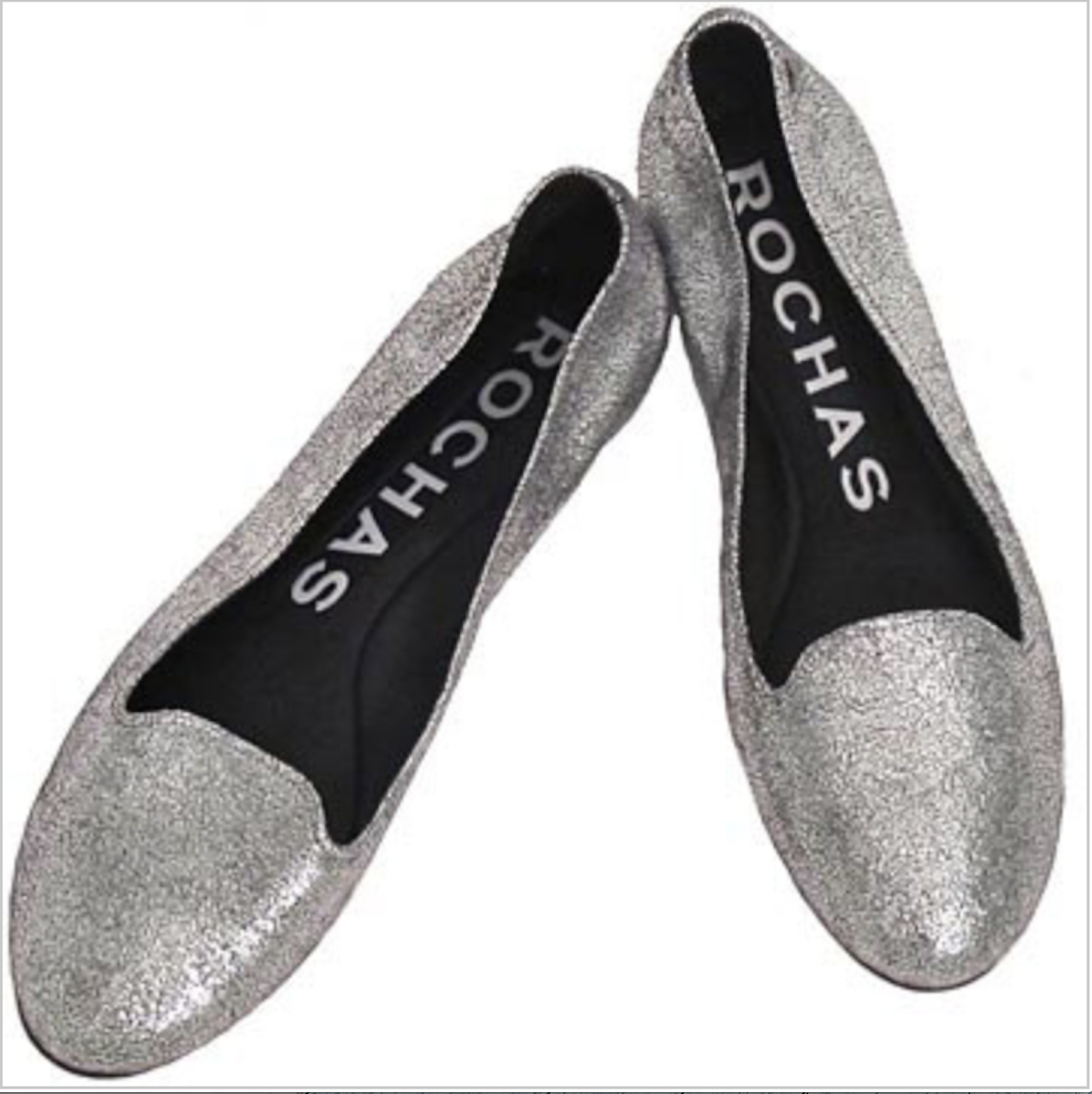 NEW ROCHAS Silver metallic textured leather slip ons Loafers Flats Sz 38.5