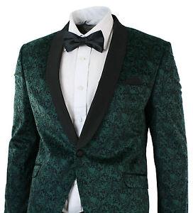 Mens Slim Fit Velvet Paisley Blazer Trouser Tuxedo Dinner Suit