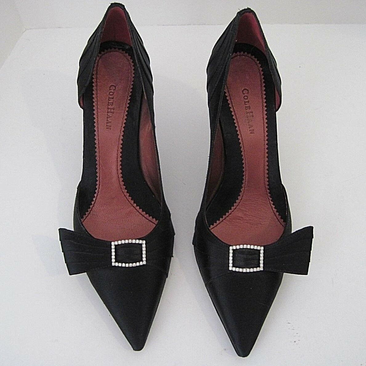 COLE HAAN D'ORSAY BLACK SATIN & RHINESTONE EVENING/FORMAL SIZE PUMPS SIZE EVENING/FORMAL 7 1/2 B c6829e