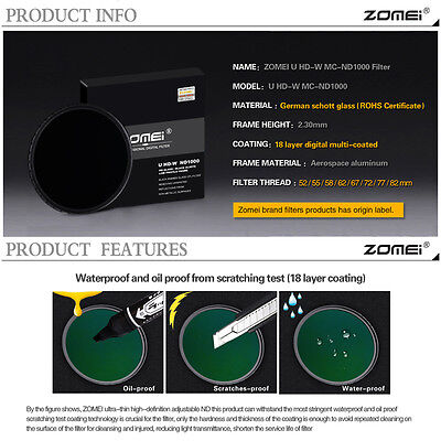 ZOMEI® Slim HD 18Layer Multi-Coated SCHOTT Glass PRO Density Neutral ND1000 52mm