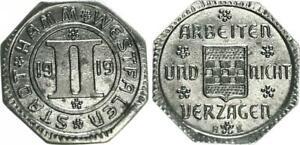 Emergency Money City Hamm-Westfalen 2 Pfennig 1919 Extremely Fine