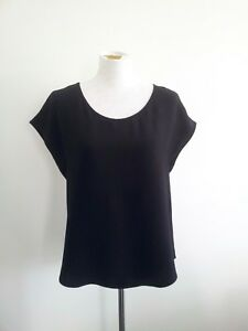 Anna-Hoffmann-size-14-black-viscose-top-with-cap-sleeves-and-scoop-neck