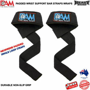 DAM-WEIGHT-LIFTING-GYM-TRAINING-WRIST-SUPPORT-BAR-STRAPS-SINGLE-LOOP-COTTON-NEW