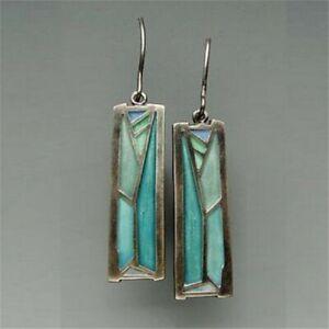 Vintage-925-Silver-Gemstone-Turquoise-Women-Earrings-Hook-Dangle-Drop-Jewelry