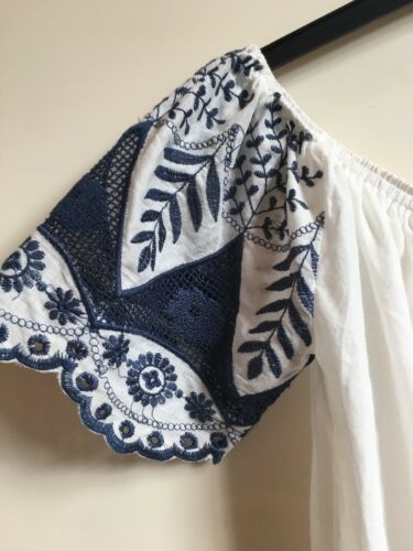e ricamato bianco floreale con Boho blu Playsuit Amore altre ricamo Bardot cose dYPndzxA
