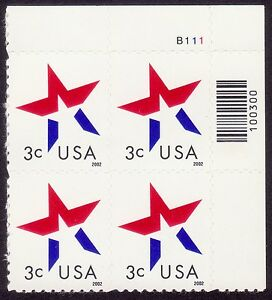 USA-3c-Stars-from-Booklet-with-Plate-number-MNH-E1651