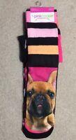 Pink Cookie Girls Knee High Dog/hearts/crowns 3 Pr Socks - Shoe Size 4-10 -