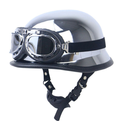 DOT German Motorcycle Half Helmet Skull Cap w//Goggles Chrome Silver  Scooter XL