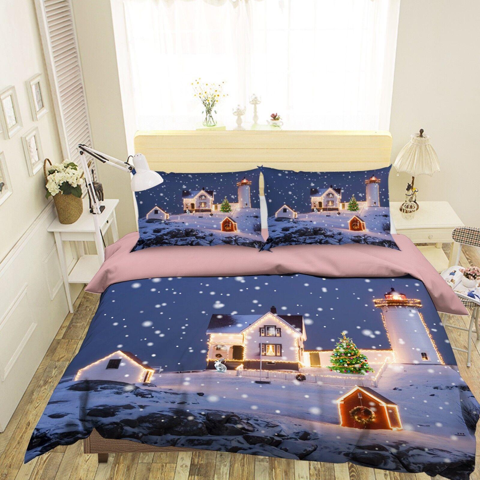 3D Christmas Xmas Snow 499 Bed Pillowcases Quilt Duvet Cover Set Single KingUK