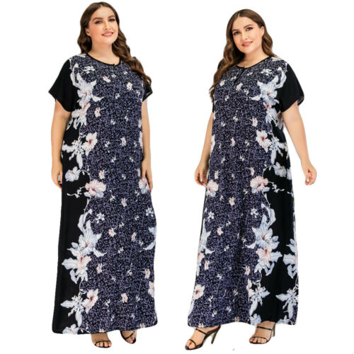 Dubai Women Printed Kaftan Muslim Abaya Robe Islamic Jilbab Maxi Dress Plus Size