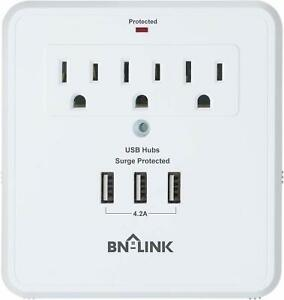 BN-LINK-Wall-Mount-Surge-Protector-with-Triple-USB-Charging-Ports-3-Outlets