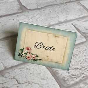 Image Is Loading Wedding Table Guest Place Name Cards Blue Vintage