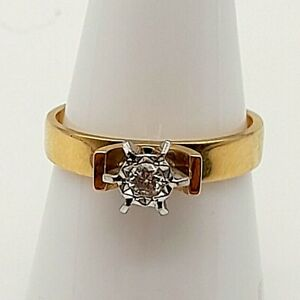 A Stunning 18ct Yellow Gold 0.15ct Solitaire Diamond Ring