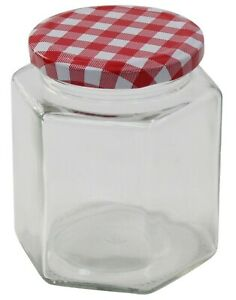 Glass-Preserve-Jars-Jam-Chutney-Honey-Jars-Tartan-Lid-Hexagon-Set-Of-12-x-380ml