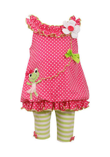 New Bonnie Jean Girls Tunic Dress Leggings Set Outfit Size 12 18 24 MO 2T 3T 4T