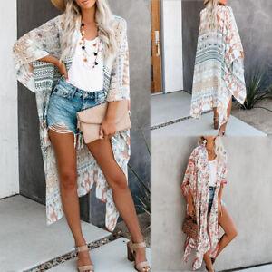 US-Summer-Ladies-Boho-Bikini-Cover-Up-Kimono-Cardigan-Blouse-Long-Sunscreen