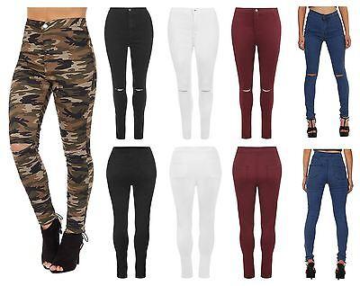 New Womens Ladies Ripped Skinny High Waist Jeans Plain Camouflage Print Fortgeschrittene Technologie üBernehmen