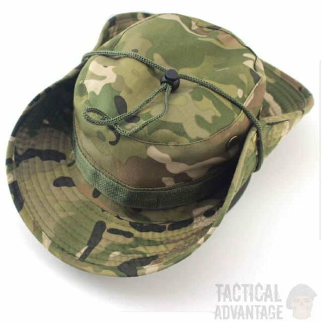 Multicam Boonie Bush Jungle Hat Wide Brim Army Military Sun Cap Cadet  Bucket UK c8b43707469