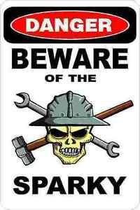 3-Danger-Beware-Of-Sparky-Oilfield-Electrician-Hard-Hat-Helmet-Sticker-H385