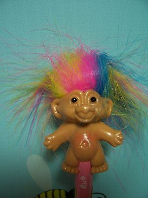 NEW Russ Troll Doll ~Rare~ GOOD LUCK TROLL PENCIL w//RAINBOW HAIR Pink