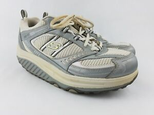 Skechers Shape Ups Womens Size 9.5 Gray Silver SLW 11814 Walking Fitness Shoes