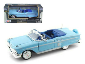 MotorMax-1-24-1958-Chevrolet-Impala-Convertible-Diecast-Model-Blue-73267