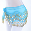 Belly Dance Chiffon Hip Skirt Scarf Wrap Belt Costume with 3 Rows Gold Coins US