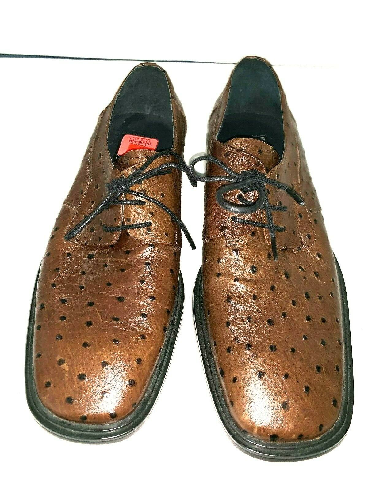 New Borgesi Beverly Hills Collection Full OSTRICH Brown Oxford Men's Size 9-9.5