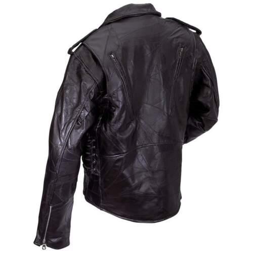 Uomo Nero Pelle Motociclista Giacca Zip Fuori Foderato Harley Rider