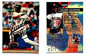 Sandy-Alomar-Jr-Signed-1993-Stadium-Club-400-Card-Cleveland-Indians-Autograph