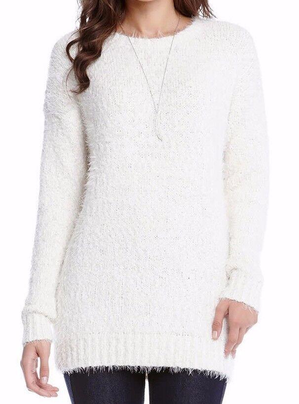 Karen Kane 4L89646 Cream Fuzzy Boucle Drop Shoulder Crew Neck Sweater -  98