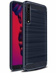Coque-Etui-Housse-Silicone-brossee-Fibre-de-carbone-Noir-Protection-Huawei