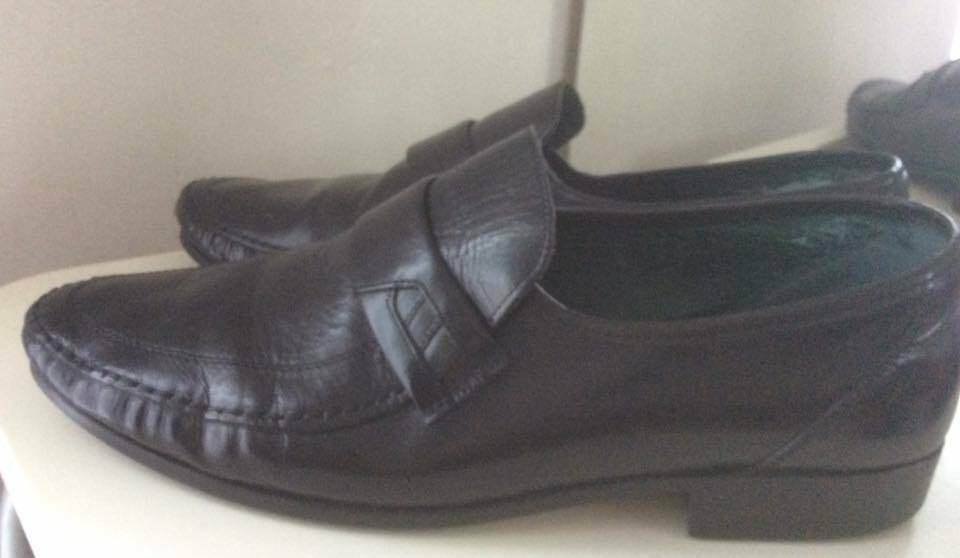 CLARKS BLACK LEATHER MOCCASIN LOAFER SHOES 11 UK Made in Italy