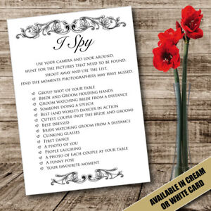 i eye spy camera wedding table cards game favour disposable activity