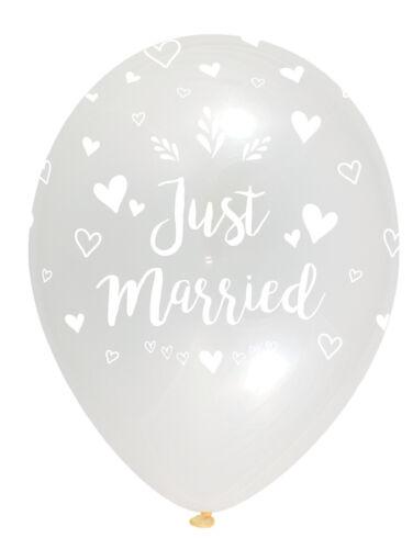 """6 X 12/"""" recién casados globos de látex claro Helio Fiesta Boda alrededor de impresión"""