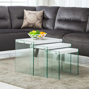 Image Is Loading Mecor Modern Nest Of 3 White Coffee Table
