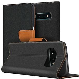 Tissu Étui de Protection Book Flip Portefeuille Téléphone Portable Sac Noir
