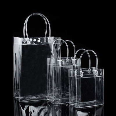 NEW PVC Clear Tote Bag Transparent Backpack Purse Shoulder Handbag with Button