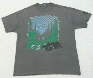 Quiksilver-Gray-Blue-amp-Green-Cotton-Short-Sleeve-Crewneck-Tee-T-Shirt-Large-J1