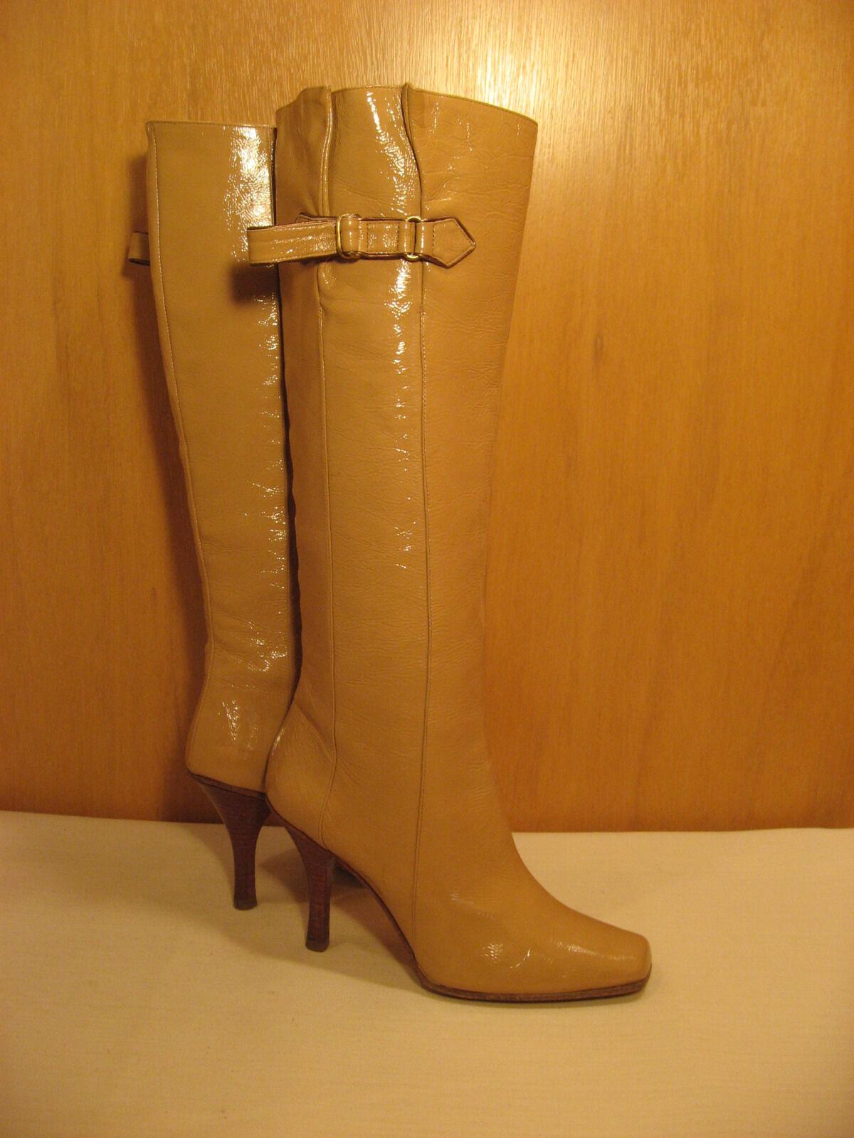 JMMY CHOO Tall Knee High Tan läder stövlar stövlar stövlar med spännen - Storlek 36 eller 6  kvalitetsprodukt