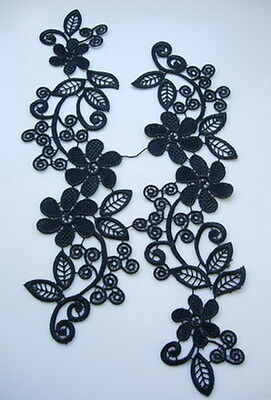 VT111B Black Venise Venice Lace Applique L&R Pair Floral Motif Bulk/Wholesale 12