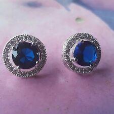 Kristall Ohrring Ohrstecker blau silber bling    Modeschmuck Strass Damen 02