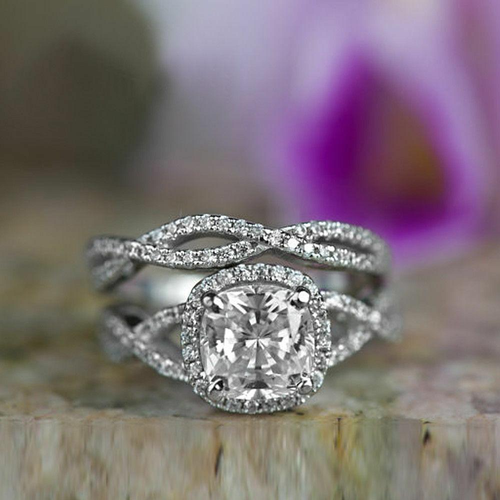 Certified 2.60Ct White Cushion Diamond in 14k W.gold Engagement Wedding Ring Set