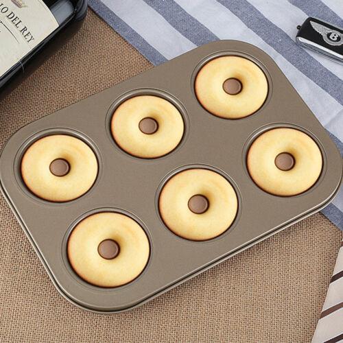 6 Cup Steel Doughnut Donut Bagel Tin Pan Mould Mold Non Stick Anti Warp DIY New