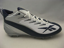 Reebok NFL Equipment Pro 4-Speed III Mid M2 Football Cleats 14 White Navy Blue