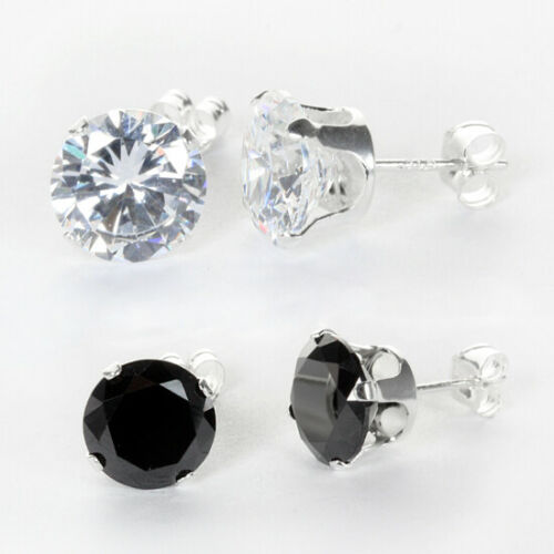 925 Sterling Silver Clear /& Black Round Crystal Cubic Zirconia CZ Stud Earrings