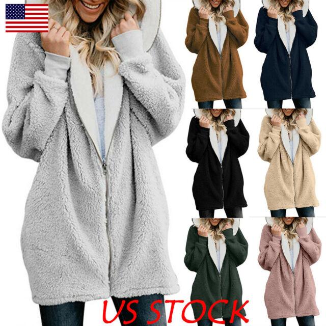 Women Winter Fuzzy Fluffy Coat Fleece Fur Jacket Outerwear Hoodie Warm Plus Size